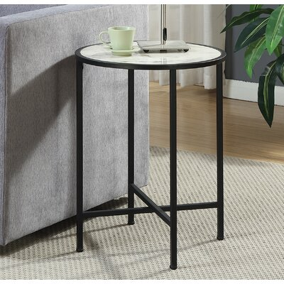 Daliah Faux Marble Round End Table Color: White Marble / Black Frame
