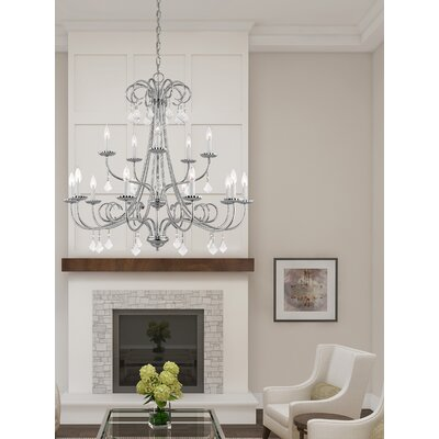 Devan 15-Light Candle-Style Chandelier Finish: Polished Chrome