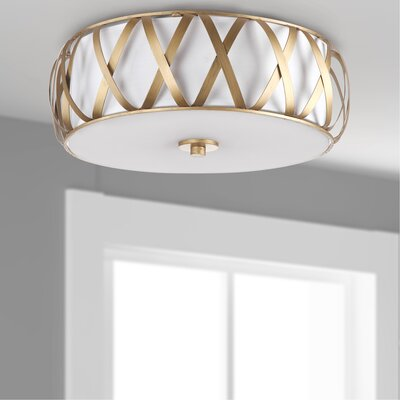 Nil Cross 2 Light Flush Mount Finish: Antique gold