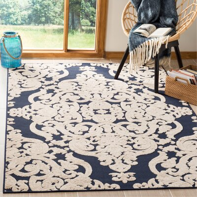 Mira Medallion Navy Indoor/Outdoor Area Rug Rug Size: Rectangle 53 x 77
