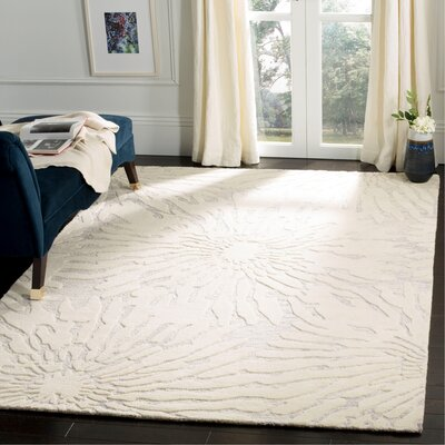 Mcguire Hand-Tufted Silver/Ivory Area Rug Rug Size: Rectangle 6 x 9