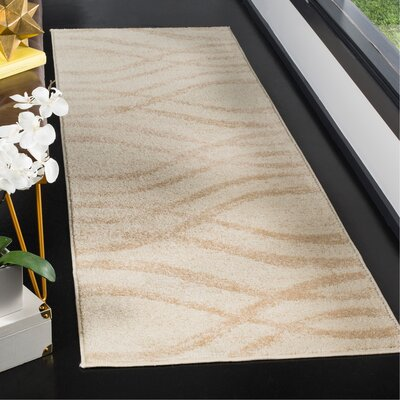 Marlee Cream/Champagne Area Rug Rug Size: Runner 26 x 8