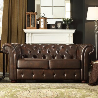 Vegard Tufted Chesterfield Loveseat Upholstery: Brown