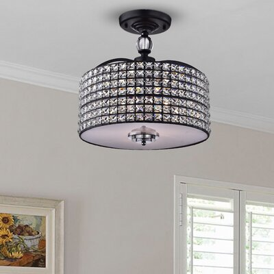Anay 3-Light Semi Flush Mount Finish: Brownish Black