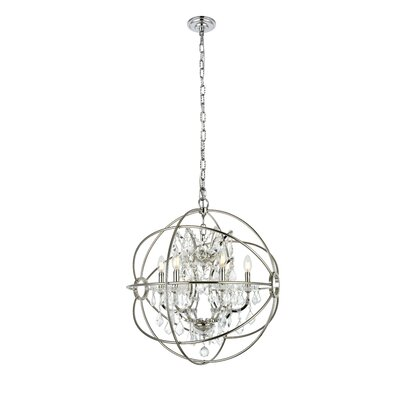 Svante 6-Light Metal Shade Foyer Pendant Finish: Polished Nickel, Crystal: Golden Teak (Smoky)