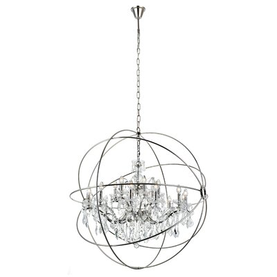 Svante 18-Light Foyer Pendant Finish: Polished Nickel, Crystal: Silver Shade (Grey)