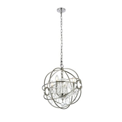 Svante 4-Light Globe Pendant Finish: Polished Nickel, Crystal: Silver Shade (Grey)