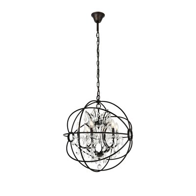 Svante 6-Light Metal Shade Foyer Pendant Finish: Dark Bronze, Crystal: Silver Shade (Grey)