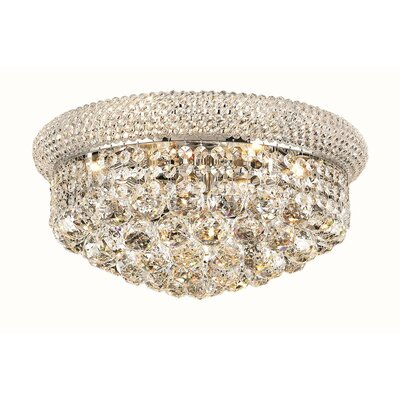 Destanee 8-Light Flush Mount Finish: Chrome, Crystal Grade: Royal Cut
