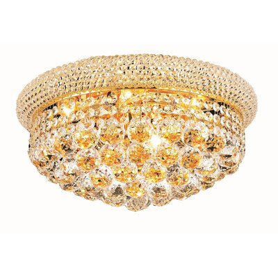 Destanee 8-Light Flush Mount Finish: Gold, Crystal Grade: Royal Cut