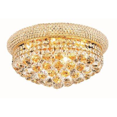 Destanee 8-Light Flush Mount Finish: Gold, Crystal Grade: Elegant Cut