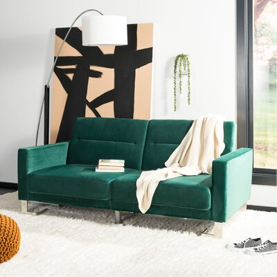Whitbeck Convertible Sofa Upholstery: Emerald/Silver