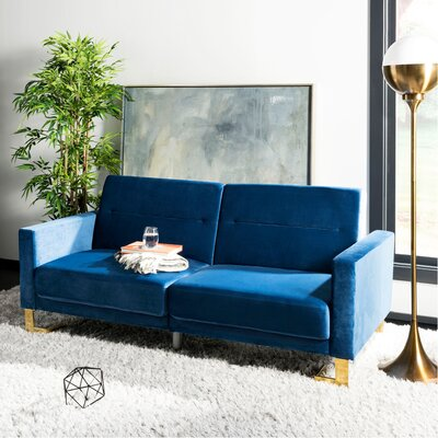 Whitbeck Convertible Sofa Upholstery: Navy/Brass