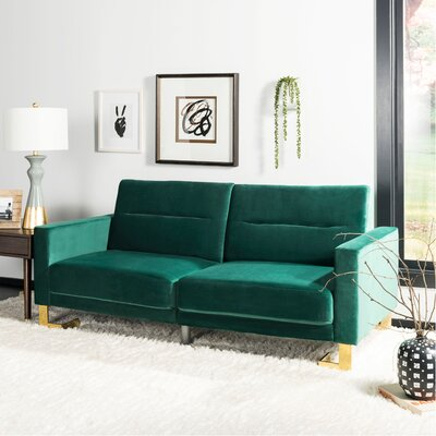 Whitbeck Convertible Sofa Upholstery: Emerald/Brass