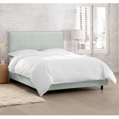 Doleman Traditional Upholstered Panel Bed Color: Suede - Pool, Size: Queen
