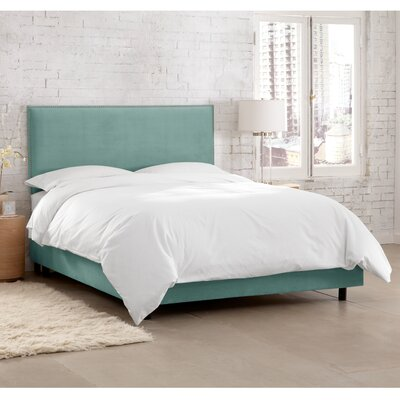 Doleman Traditional Upholstered Panel Bed Color: Velvet - Caribbean, Size: Full