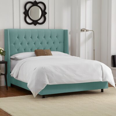 Florine Upholstered Panel Bed Color: Velvet - Caribbean, Size: California King