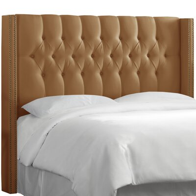 Fitzroy Diamond Tufted Upholstered Wingback Headboard Size: Queen, Upholstery: Shantung Khaki