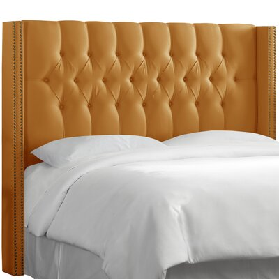 Fitzroy Diamond Tufted Upholstered Wingback Headboard Size: Full, Upholstery: Shantung Aztec