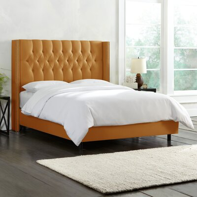 Galleria Upholstered Panel Bed Color: Shantung Aztec Gold , Size: King