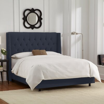 Florine Upholstered Panel Bed Color: Velvet - Navy, Size: Full
