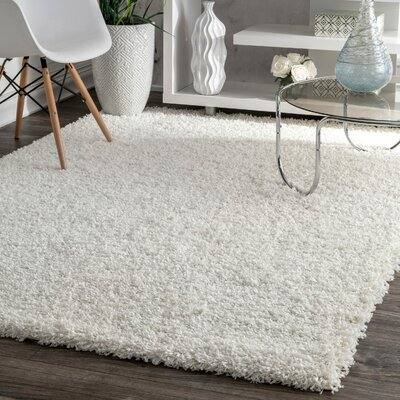 Welford White Shag Area Rug Rug Size: Rectangle 53 x 76