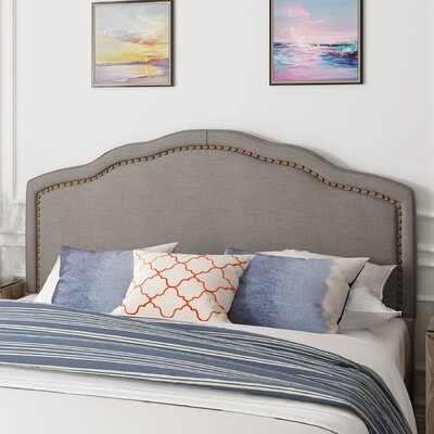 Mandrian Upholstered Panel Headboard Size: Queen, Color: Gray