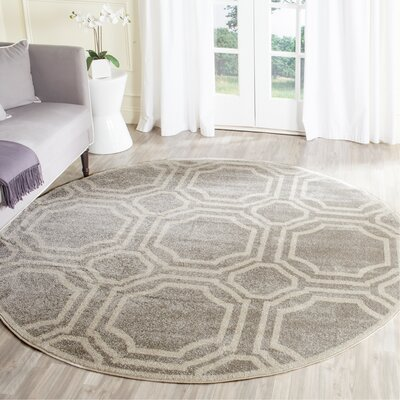 Maritza Geometric Gray/Ivory Indoor/Outdoor Area Rug Rug Size: Round 5