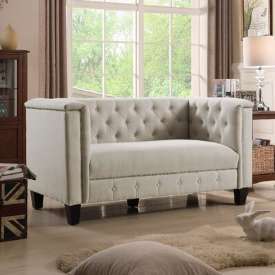 Broughtonville Tufted Chesterfield Loveseat Upholstery: Milky Beige