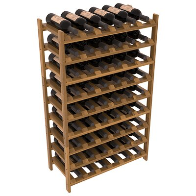 Karnes Redwood Stackable 54 Bottle Floor Wine Rack Finish: Oak Satin