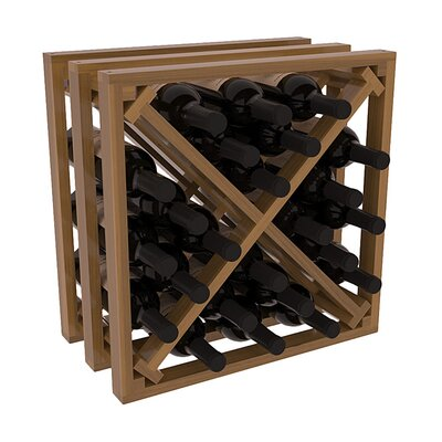 Karnes Redwood Lattice X-Cube 24 Bottle Tabletop Wine Rack Finish: Oak Satin