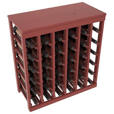 Karnes Pine 36 Bottle Floor Wine Rack Finish: Cherry Satin