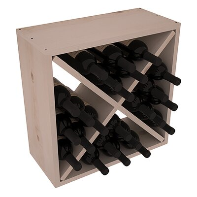 Karnes Pine Rustic Cube 24 Bottle Tabletop Wine Rack Finish: Gray