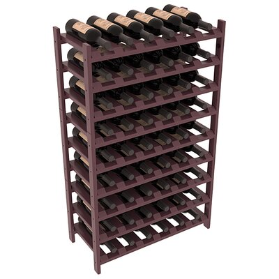 Karnes Pine Stackable 54 Bottle Floor Wine Rack Finish: Burgundy Satin