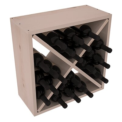 Karnes Pine Rustic Cube 24 Bottle Tabletop Wine Rack Finish: Gray Satin