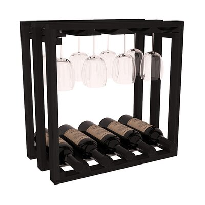 Karnes Redwood Lattice Stemware Cube 10 Bottle Tabletop Wine Rack Finish: Black
