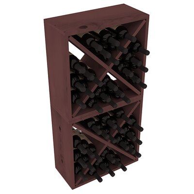 Karnes Pine Rustic Cube 48 Bottle Floor Wine Rack Finish: Walnut