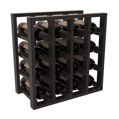 Karnes Redwood Lattice 16 Bottle Tabletop Wine Rack Finish: Black Satin
