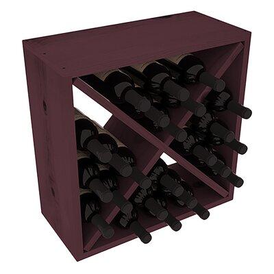 Karnes Pine Rustic Cube 24 Bottle Tabletop Wine Rack Finish: Burgundy