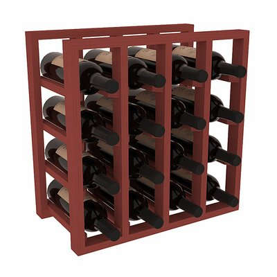 Karnes Pine Lattice 16 Bottle Tabletop Wine Rack Finish: Cherry