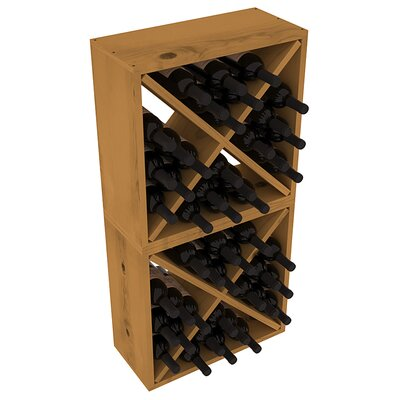 Karnes Pine Rustic Cube 48 Bottle Floor Wine Rack Finish: Oak