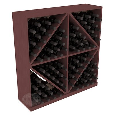 Karnes Pine Diamond Storage 96 Bottle Floor Wine Rack Finish: Walnut