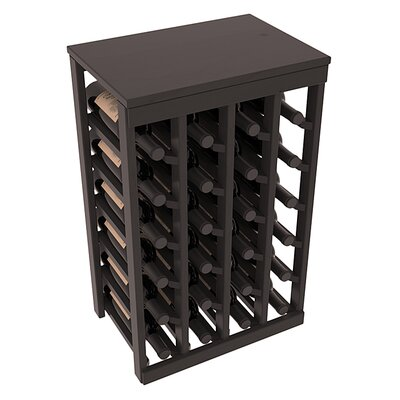 Karnes Pine 24 Bottle Floor Wine Rack Finish: Black Satin