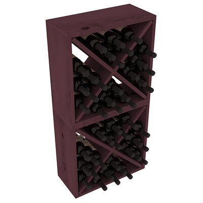 Karnes Pine Rustic Cube 48 Bottle Floor Wine Rack Finish: Burgundy