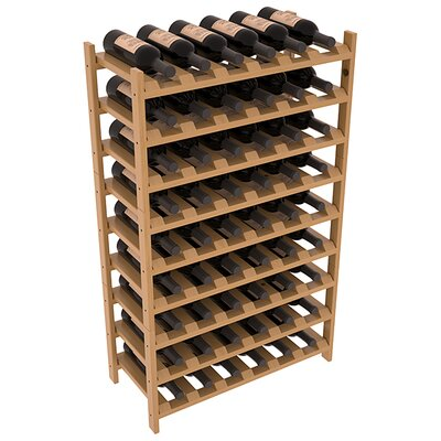 Karnes Pine Stackable 54 Bottle Floor Wine Rack Finish: Oak Satin