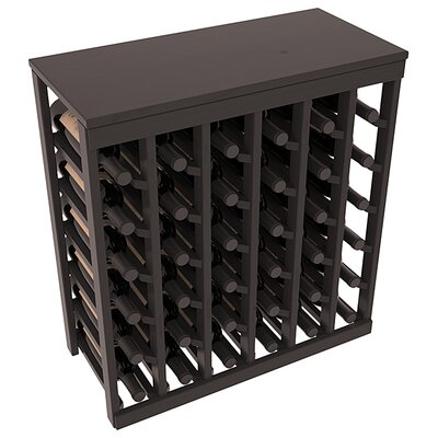 Karnes Pine 36 Bottle Floor Wine Rack Finish: Black Satin