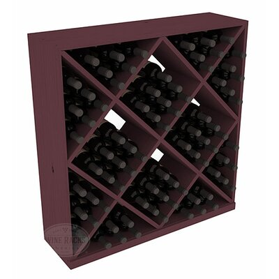 Karnes Pine Diamond Cube 82 Bottle Floor Wine Rack Finish: Burgundy