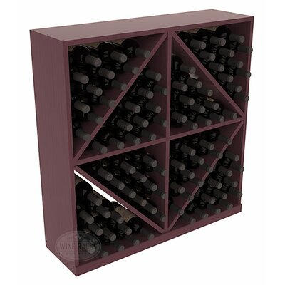 Karnes Pine Diamond Storage 96 Bottle Floor Wine Rack Finish: Burgundy Satin