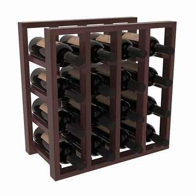 Karnes Redwood Lattice 16 Bottle Tabletop Wine Rack Finish: Walnut Satin