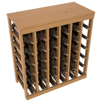 Karnes Pine 36 Bottle Floor Wine Rack Finish: Oak Satin